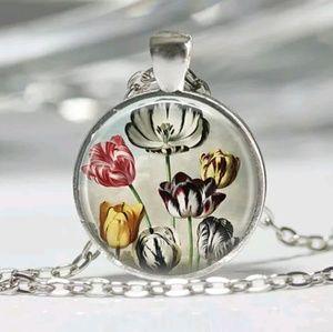 Vintage Flower Tulips Garden Art Silver Necklace